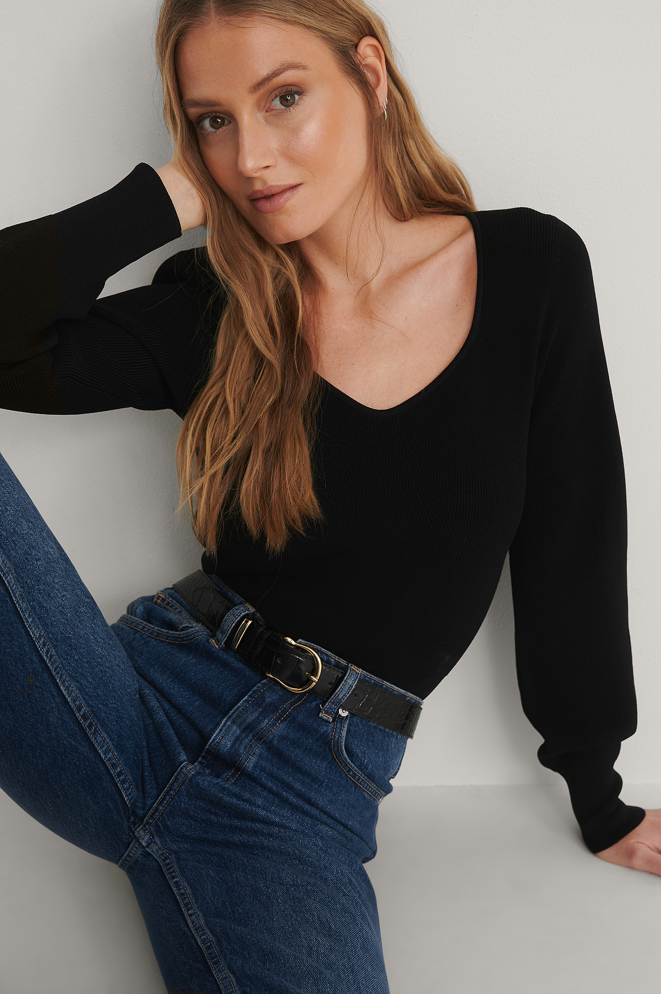 Black Detailed Neckline Knitted Sweater