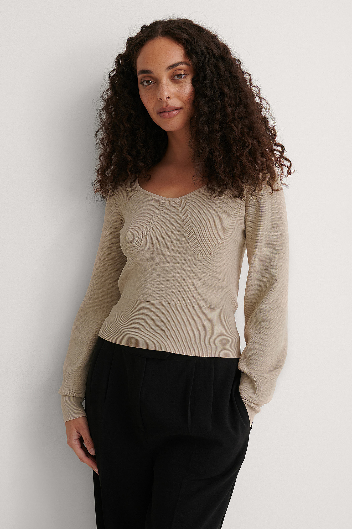 Light Beige Detailed Neckline Knitted Sweater