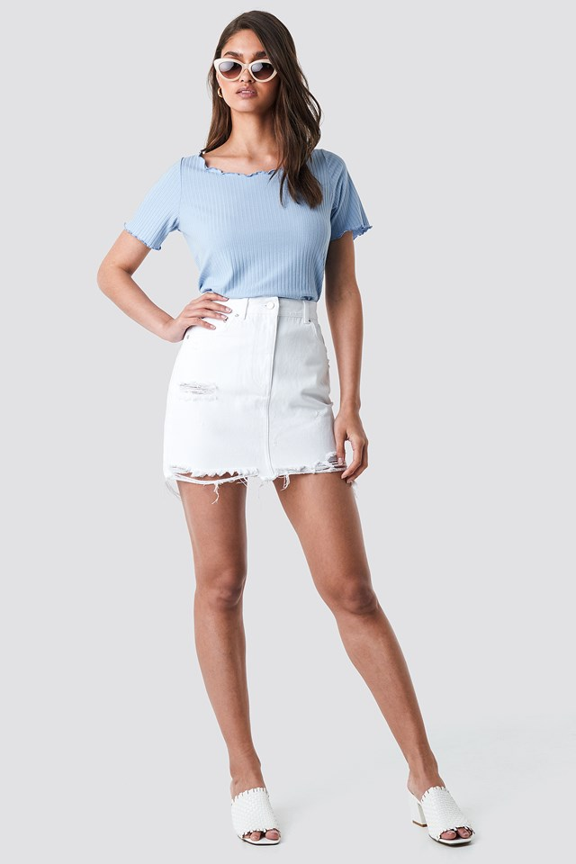 Distressed Denim Mini Skirt NA-KD