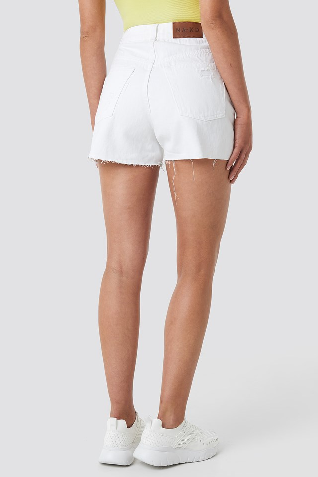 DIstressed Denim Shorts White