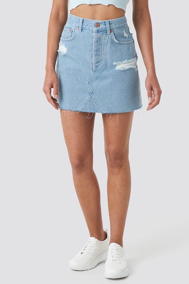 Distressed Denim Skirt Light Blue