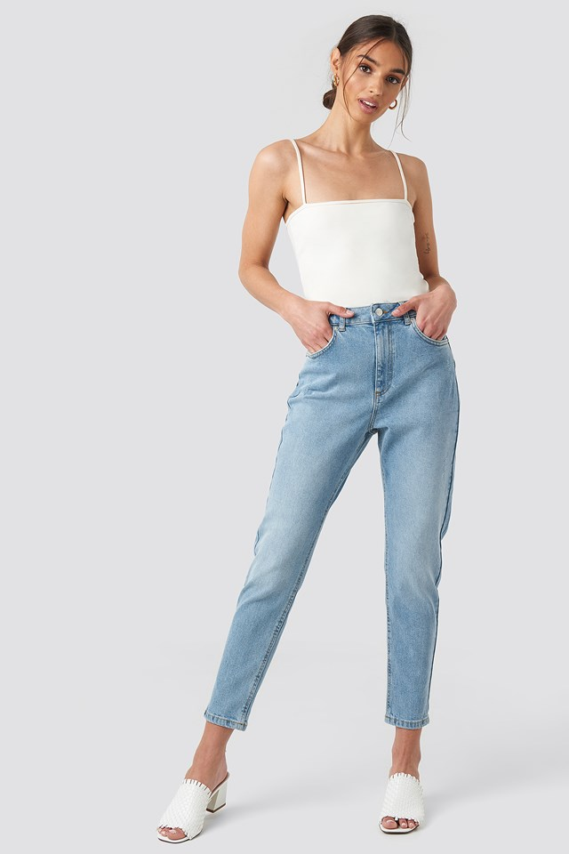 Distressed Mom Jeans Mid Blue Wash