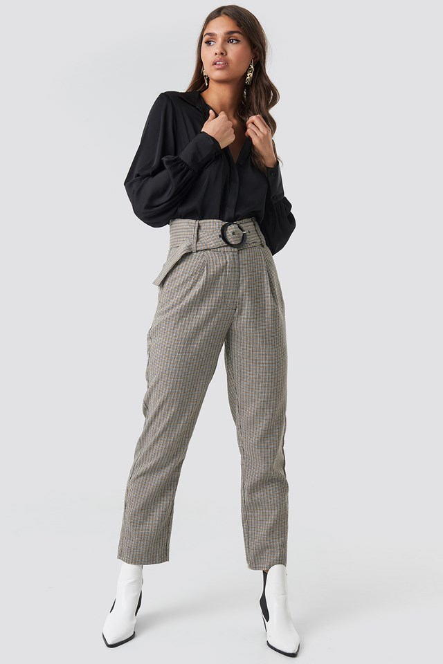 Dogtooth Asymmetric Belted Suit Pants NA-KD Classic