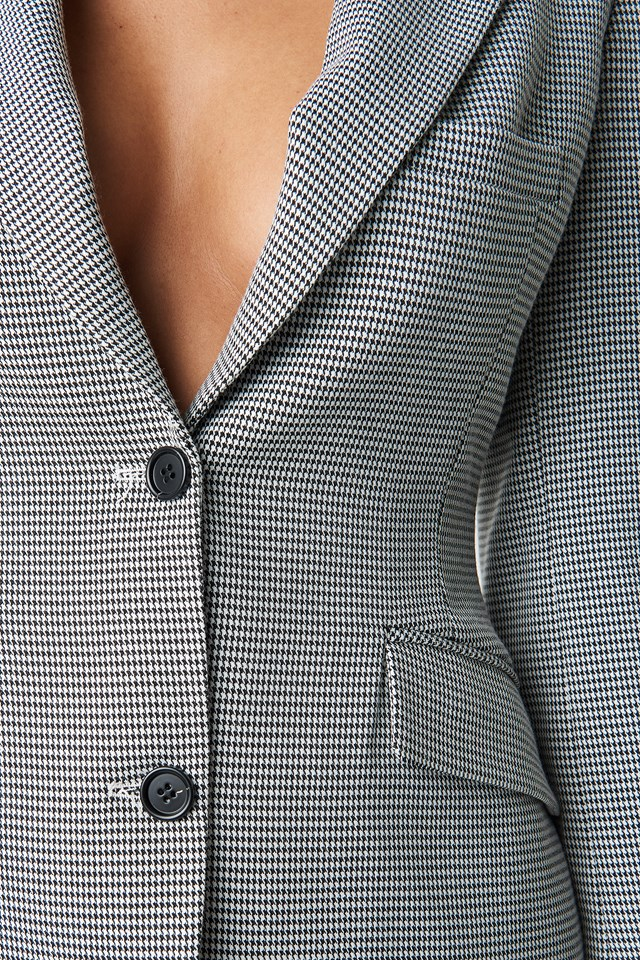 Dogtooth Fitted Blazer Black/White