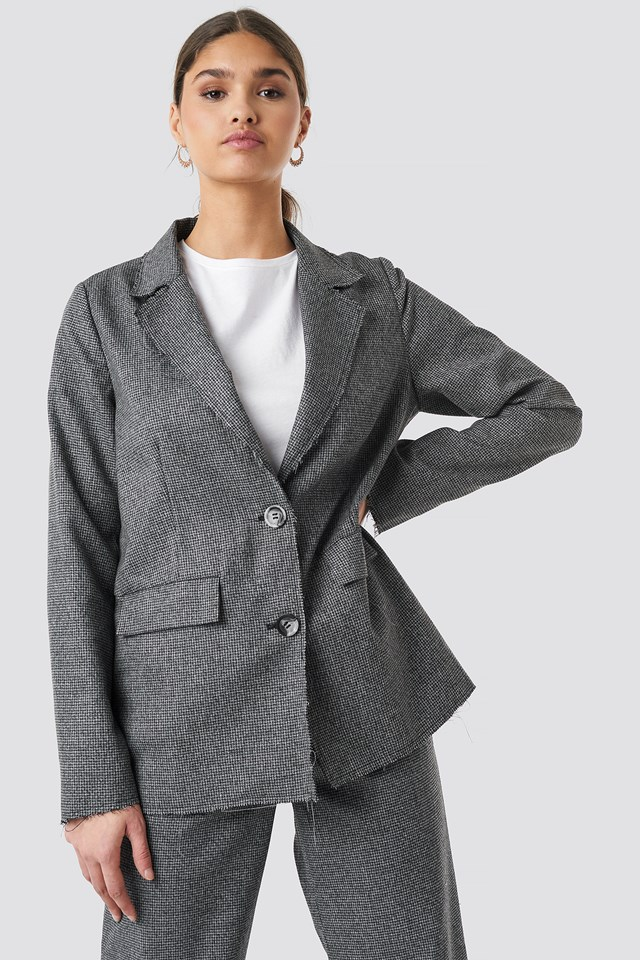 Dogtooth Raw Edge Blazer Grey