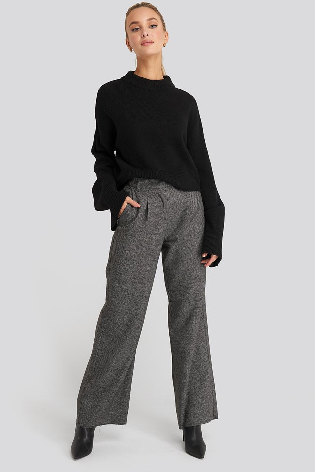 Dogtooth Raw Edge Suit Pants NA-KD Classic
