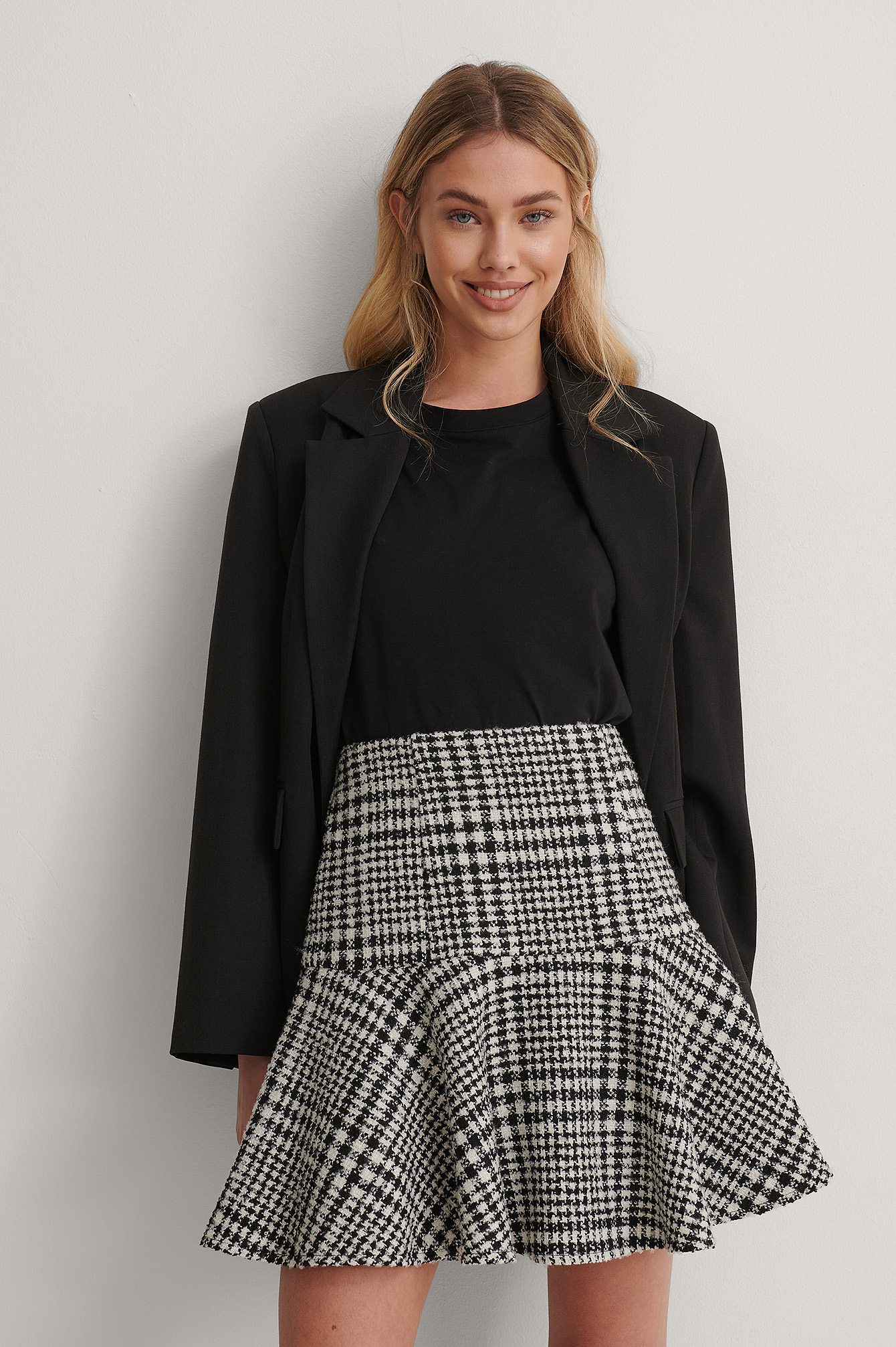 Black/White Dogtooth Tweed Skirt
