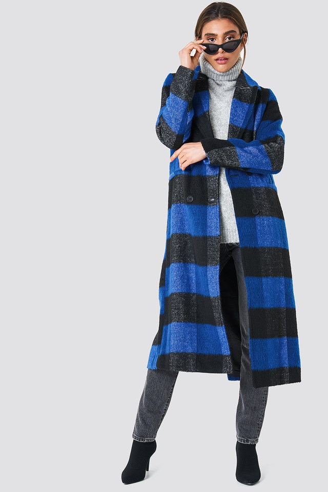 Double Breasted Checked Coat NA-KD
