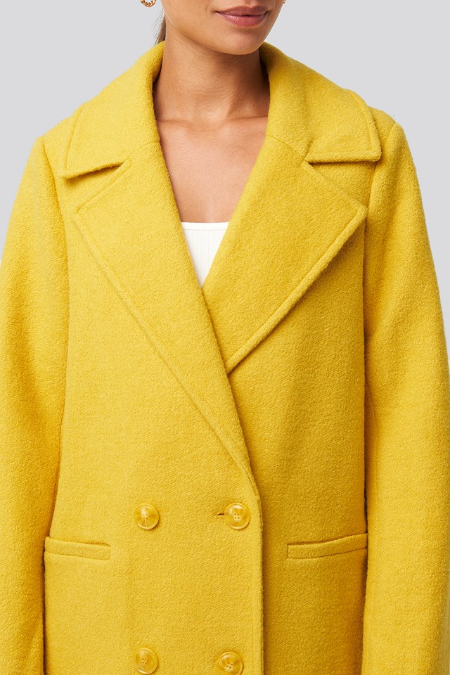Double Breasted Long Coat Yellow