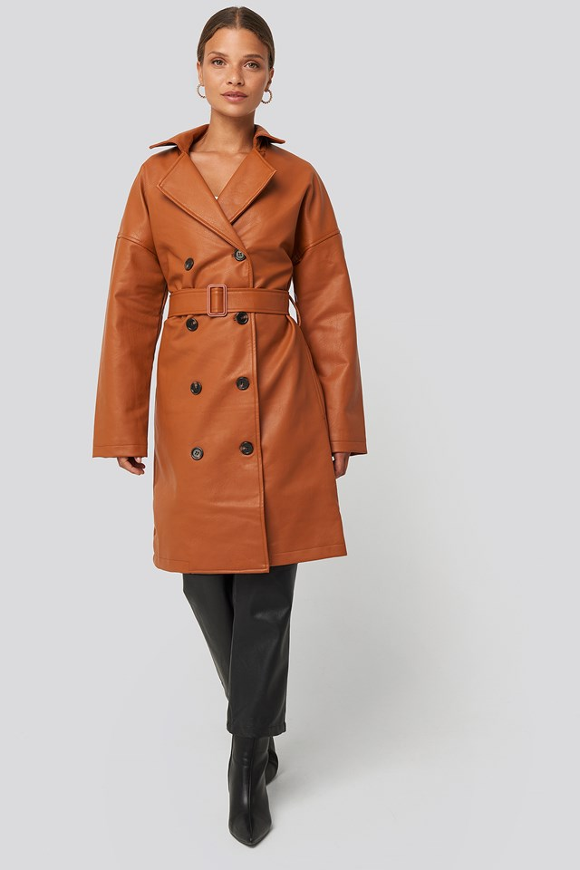 Double Breasted PU Coat Cognac