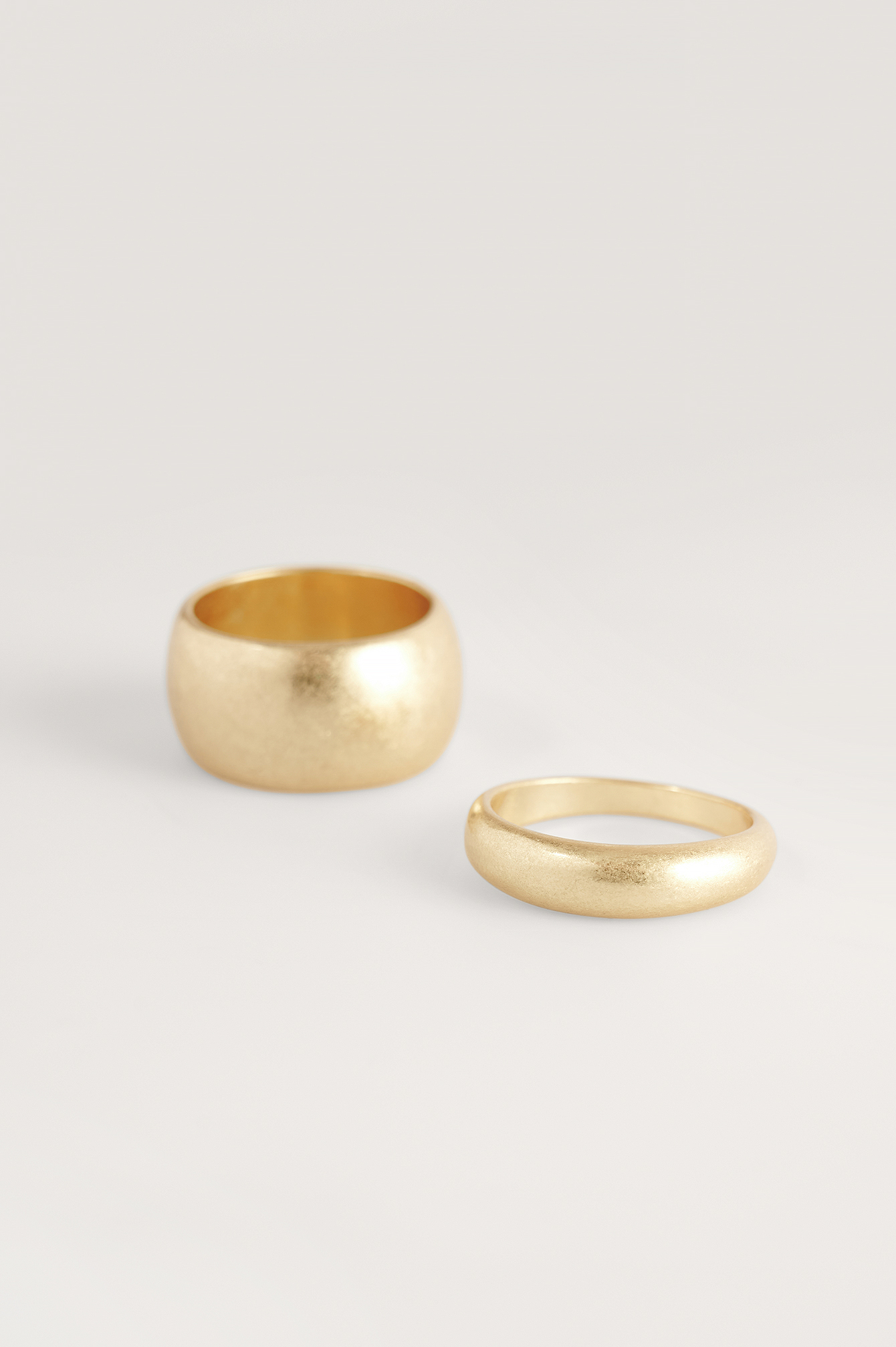 Gold Double Pack Chubby Matte Rings