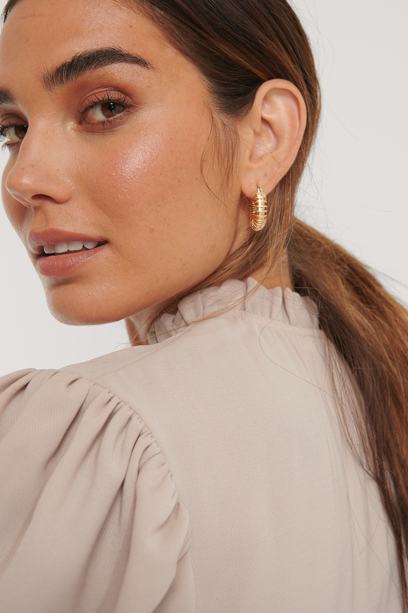 Gold Double Pack Chubby Ruffled Hoops
