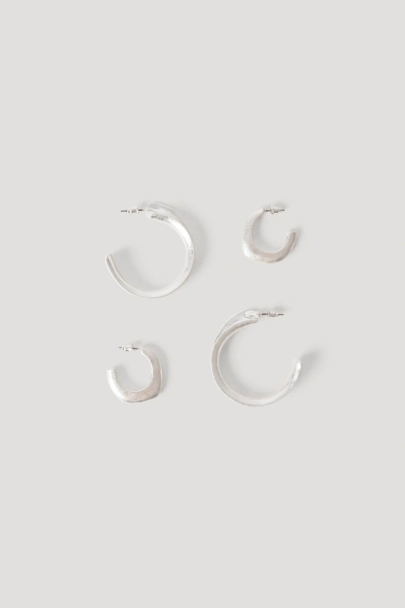 Silver Double Pack Matte Uneven Hoops