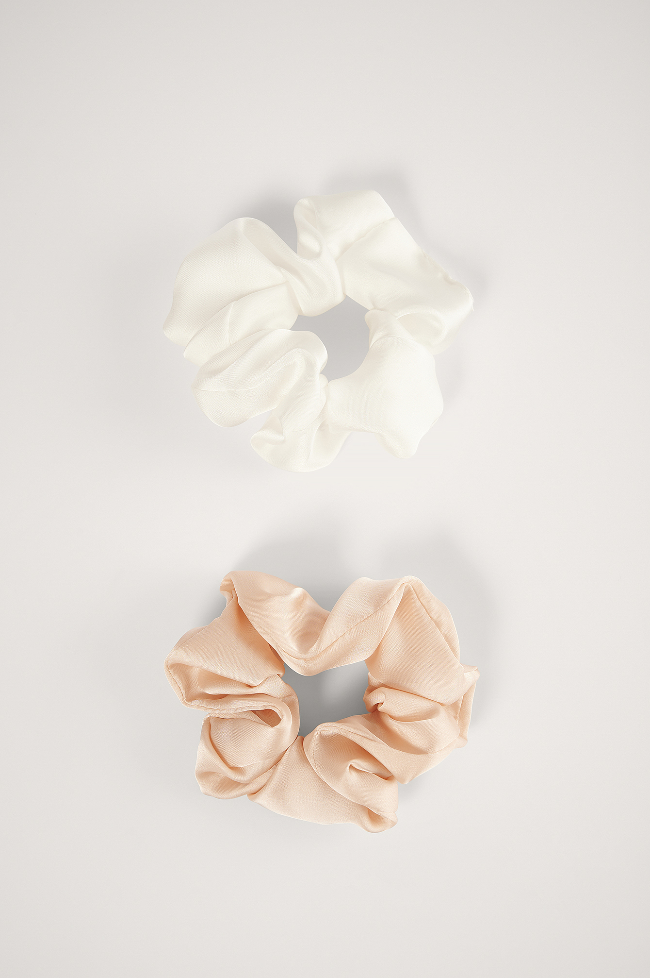 Beige/Cream Double Pack Shiny Satin Scrunchies