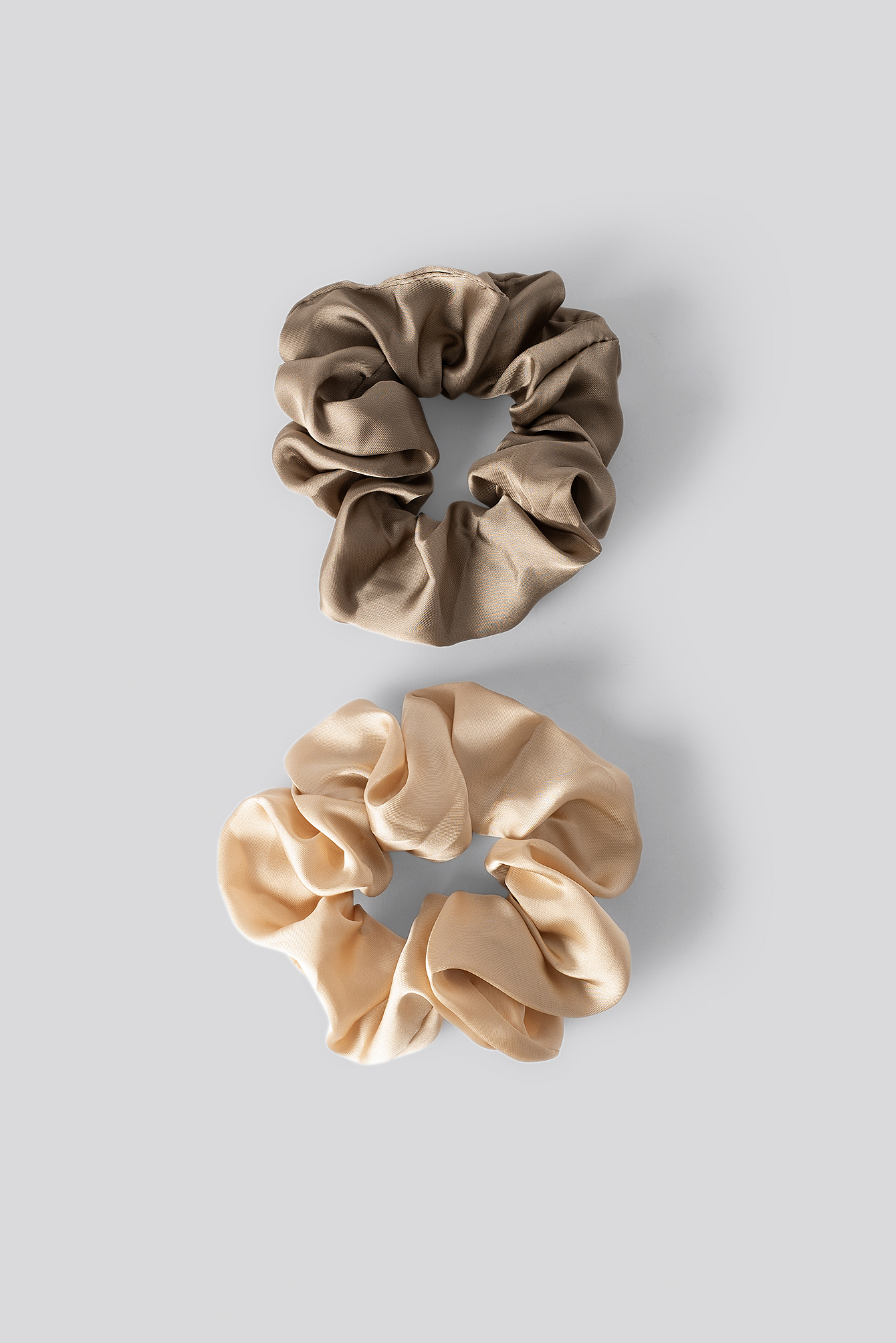 Taupe/Soft Gold Double Pack Shiny Satin Scrunchies