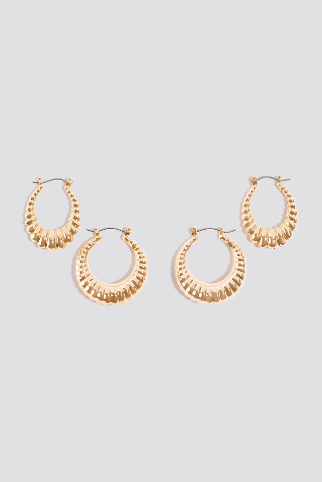 Double Pack Small Chubby Hoops Gold