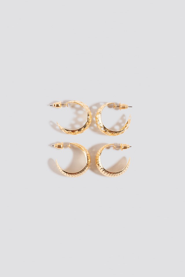 Double Pack Small Patterned Hoops NA-KD Accessories