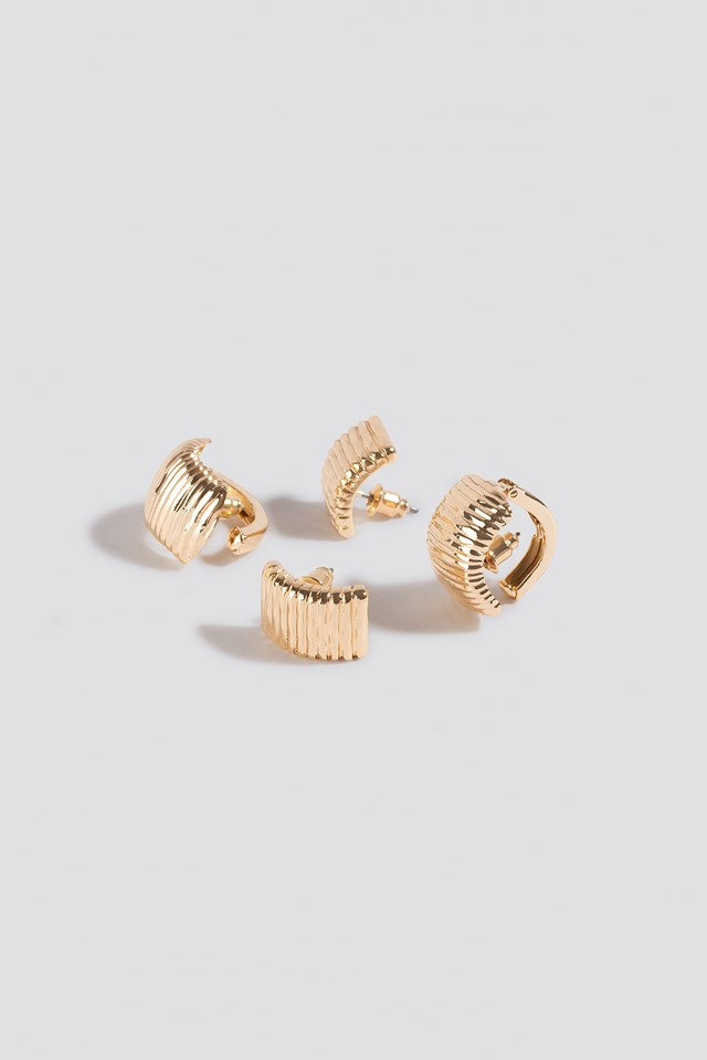 Double Pack Vintage Clip Earrings Gold