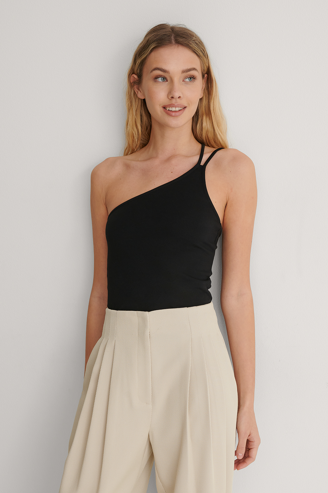 Black Double Strap One Shoulder Top