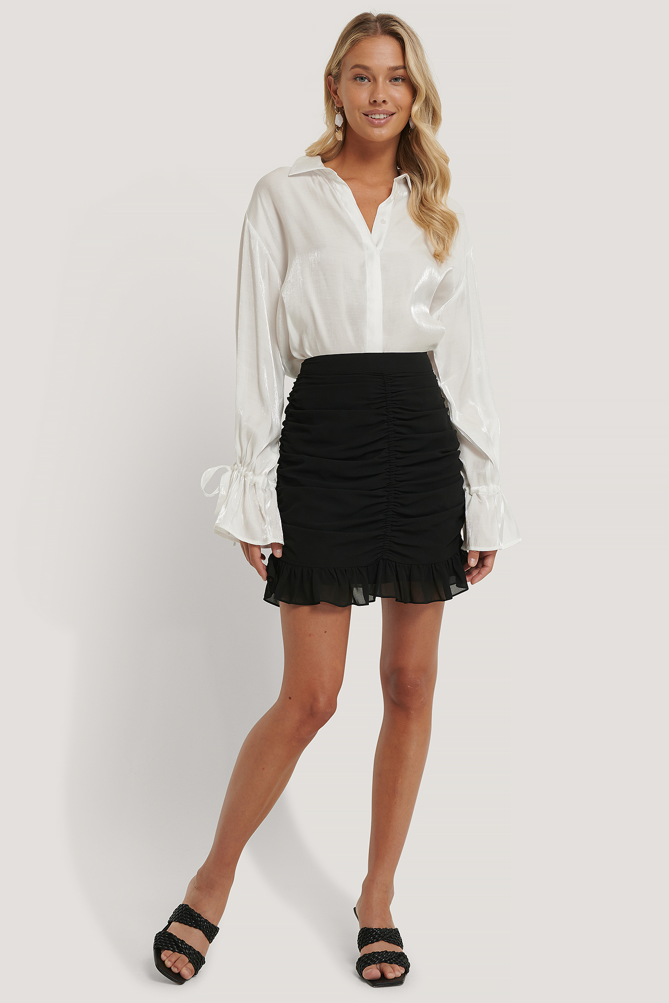 Black Draped Sheer Mini Skirt