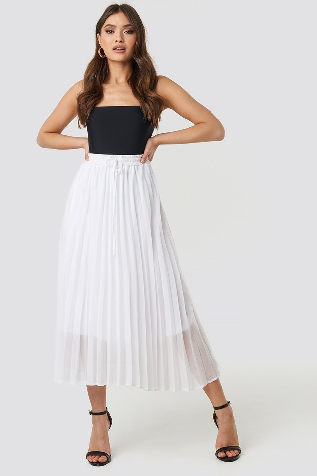 Drawcord Pleated Midi Skirt NA-KD Trend
