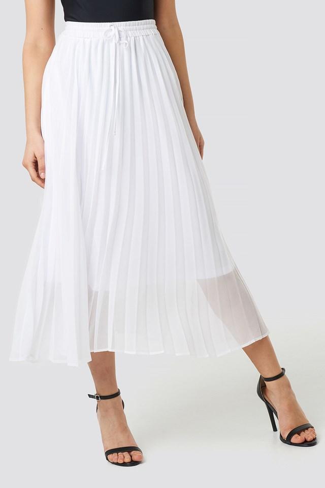 Drawcord Pleated Midi Skirt White