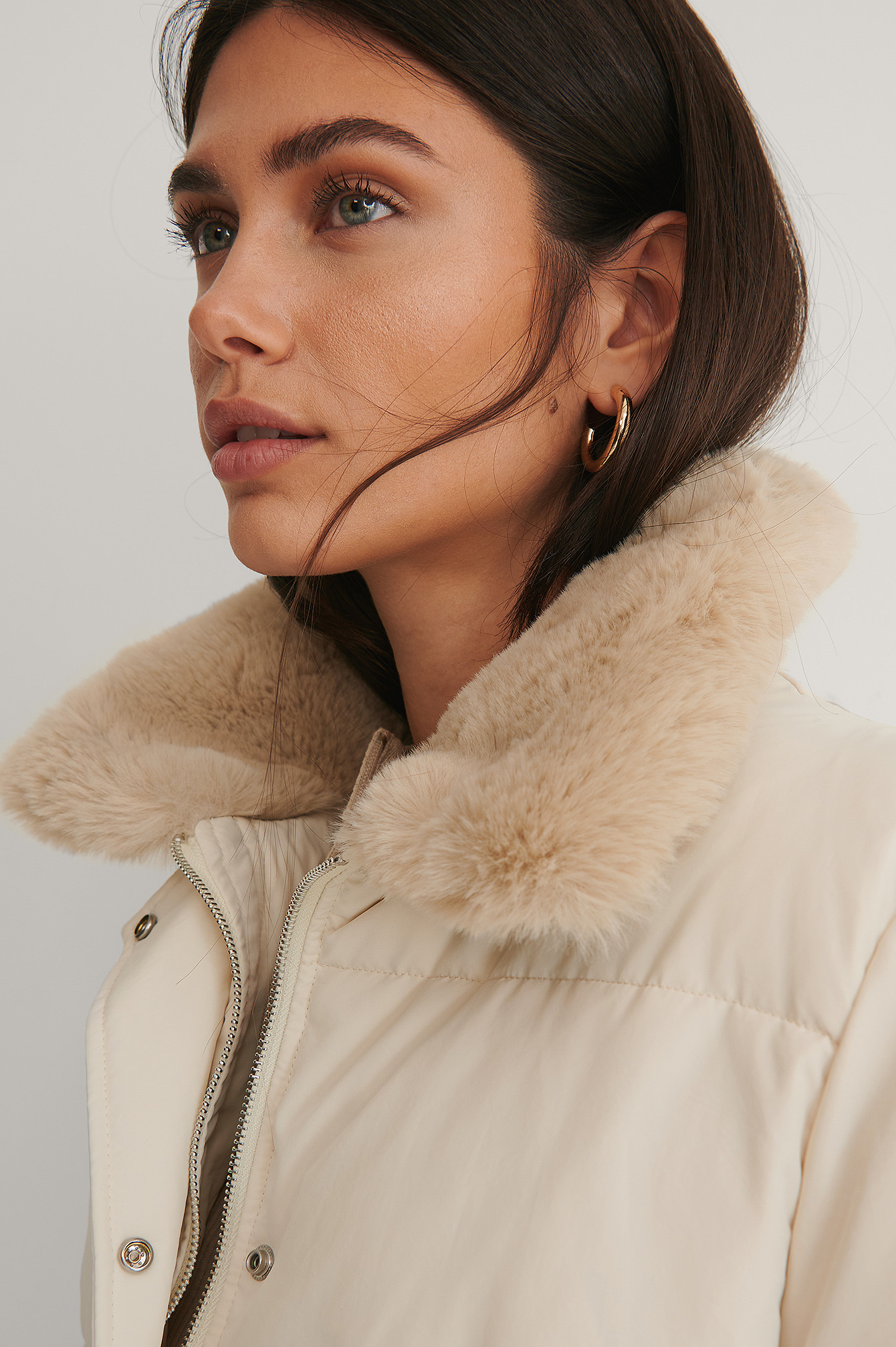 Cream Drawstring Faux Fur Jacket