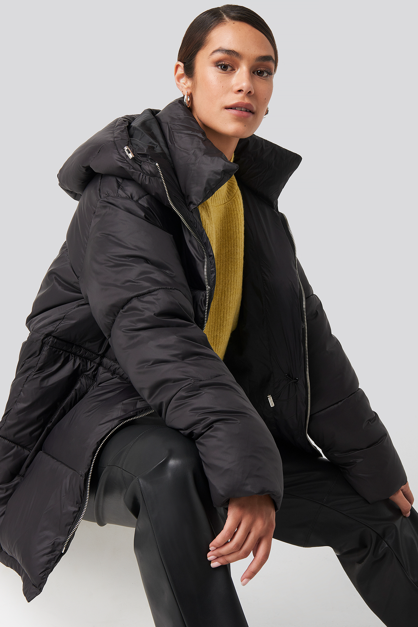 Black Drawstring Padded Jacket