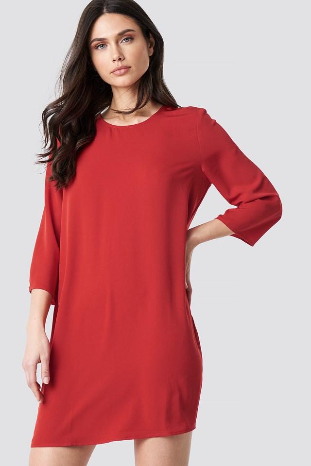 Drop Waist Mini Dress Fiery Red