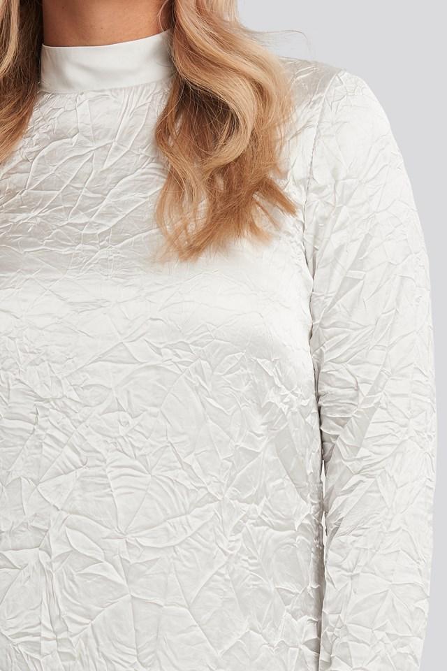 Creased Effect Long Sleeve Mini Dress Grey
