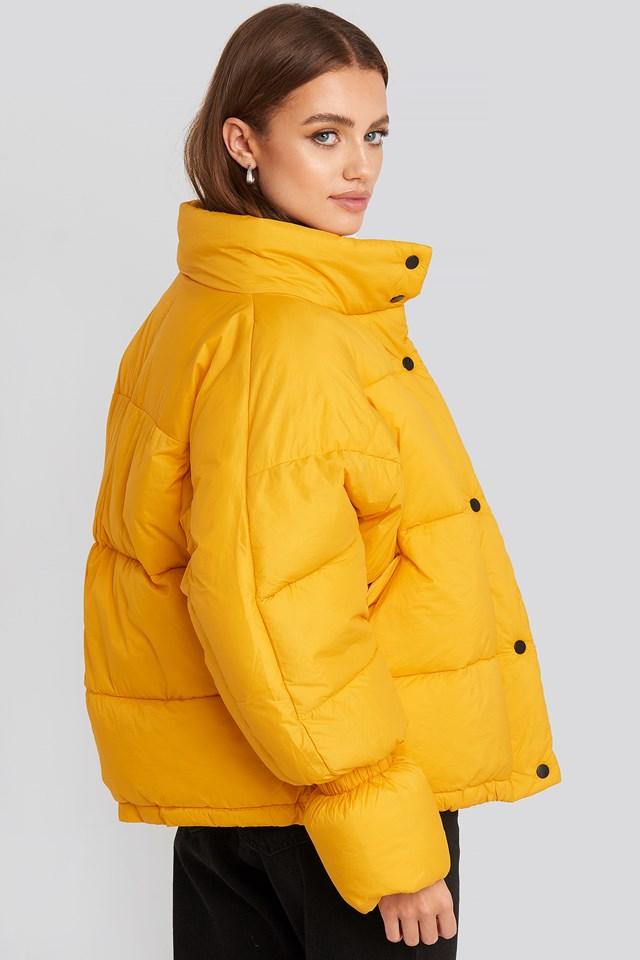 Elastic Detail Puffer Jacket Yellow