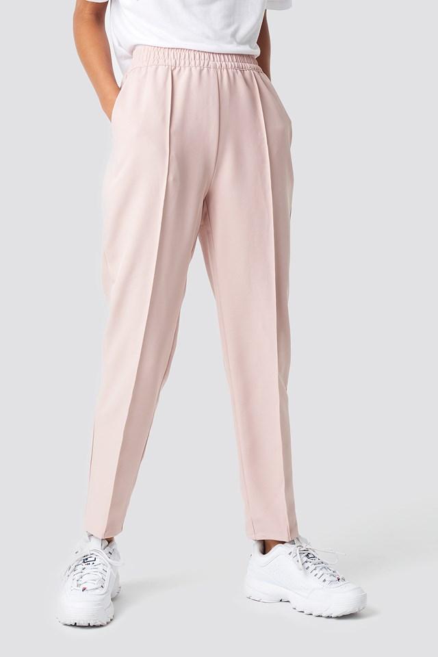 Elastic Waist Seamline Pants Dusty Pink
