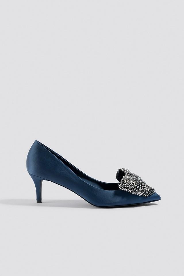 Embellished Bow Satin Pumps Blue Stone