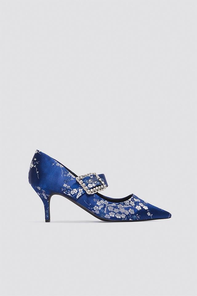 Embellished Buckle Mid Heels Blue Flower Print
