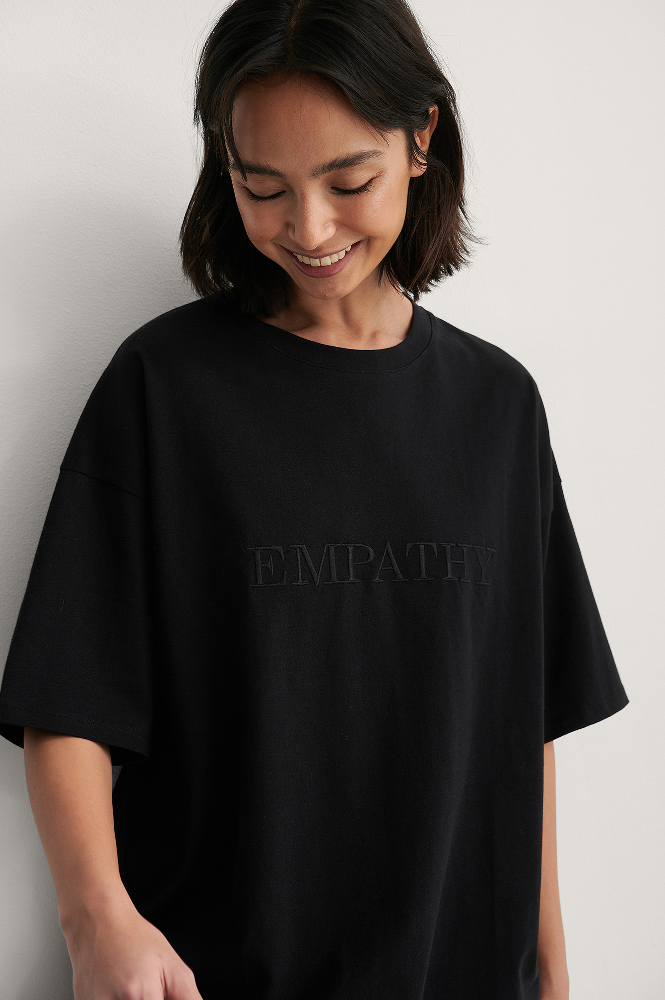 Black Organic Embroidery Detail Boxy Tee