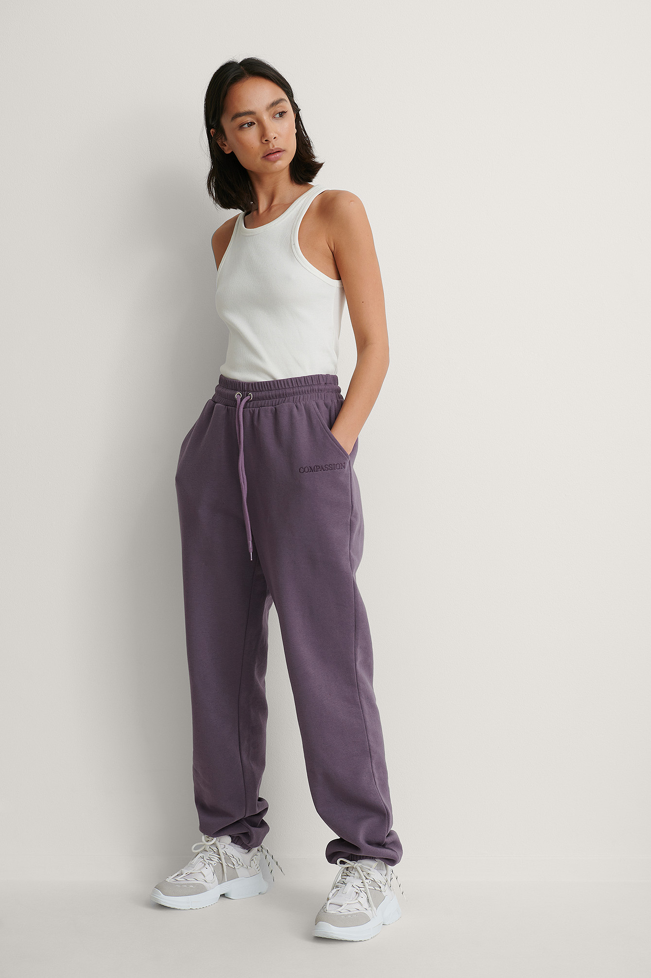 Purple Embroidery Detail Sweatpants