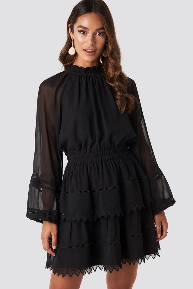 Embroidery Mini Dress Black