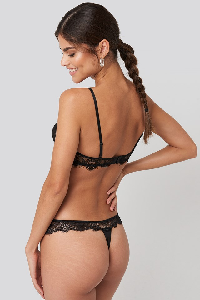 Eyelash Lace Thong Black