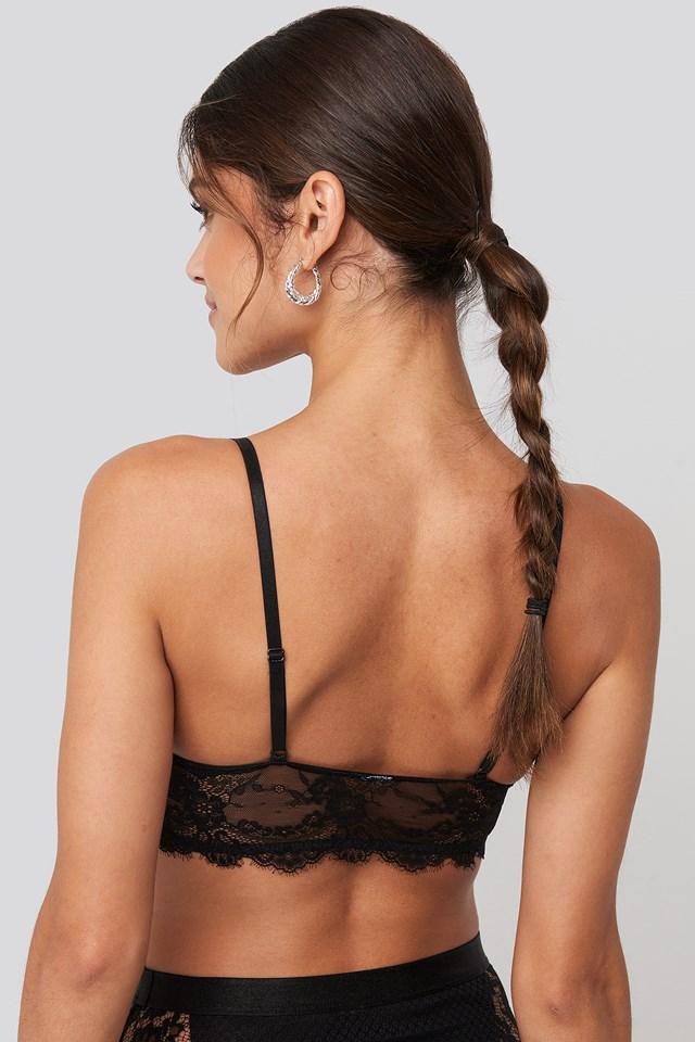 Eyelash V Neck Lace Bralette Black