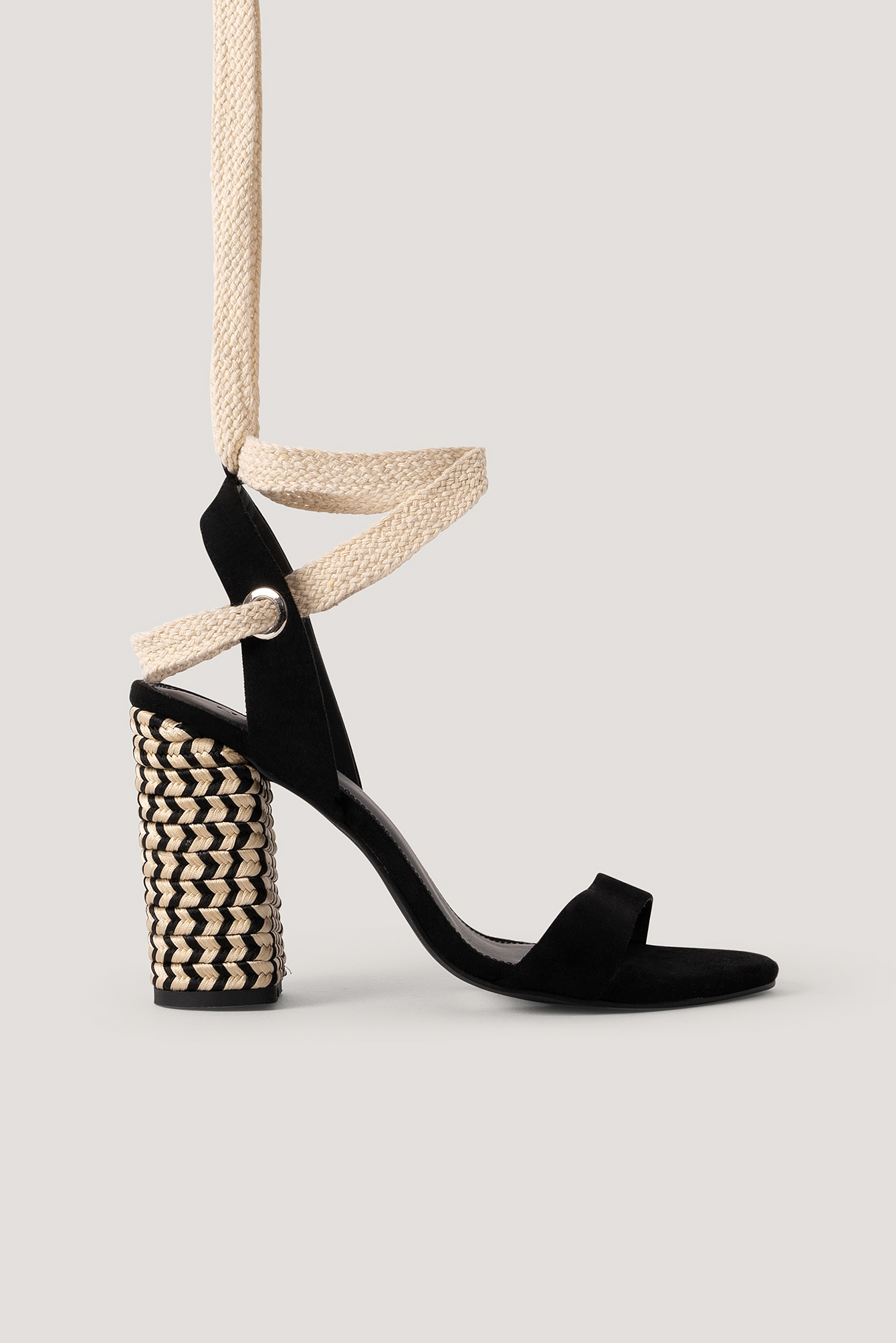 Black Eyelet Detail Braided Heel Sandals
