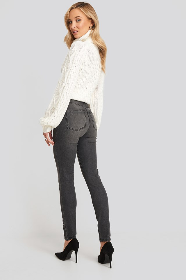 Fake Pocket Skinny Jeans Grey