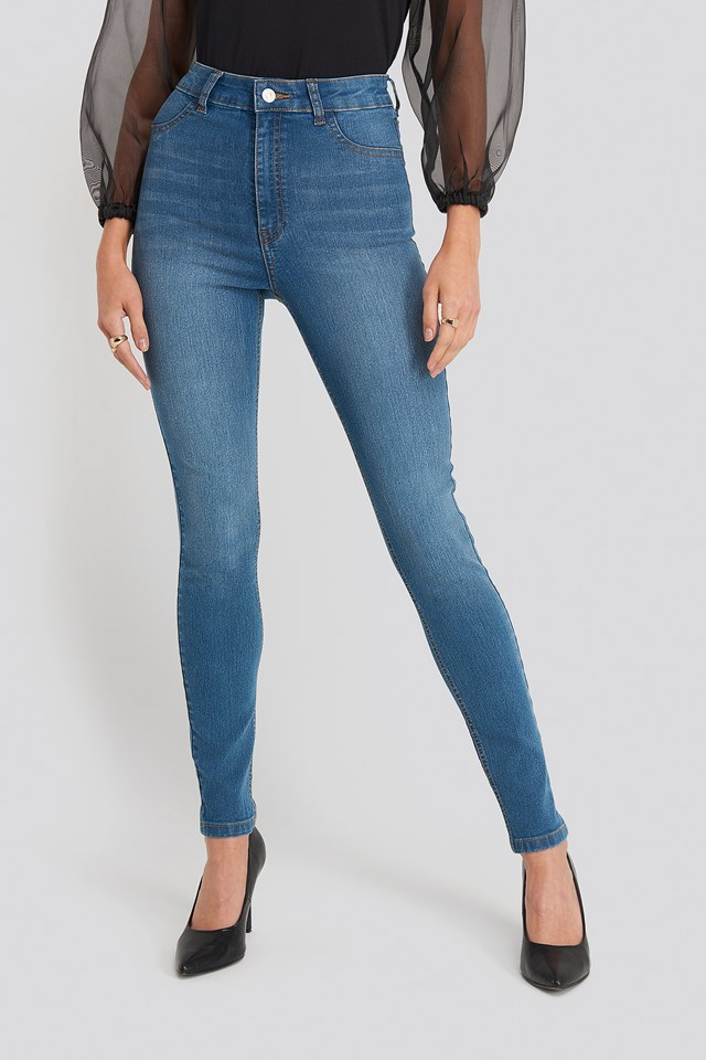 Fake Pocket Skinny Jeans Mid Blue