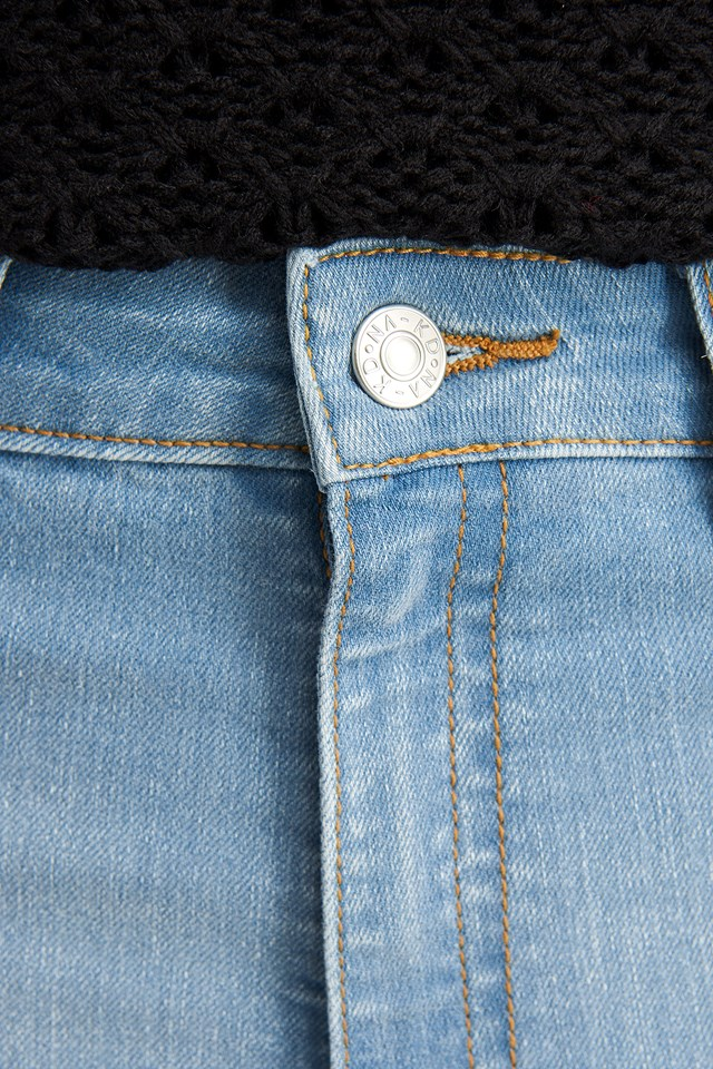 Fake Pocket Skinny Jeans Light Blue