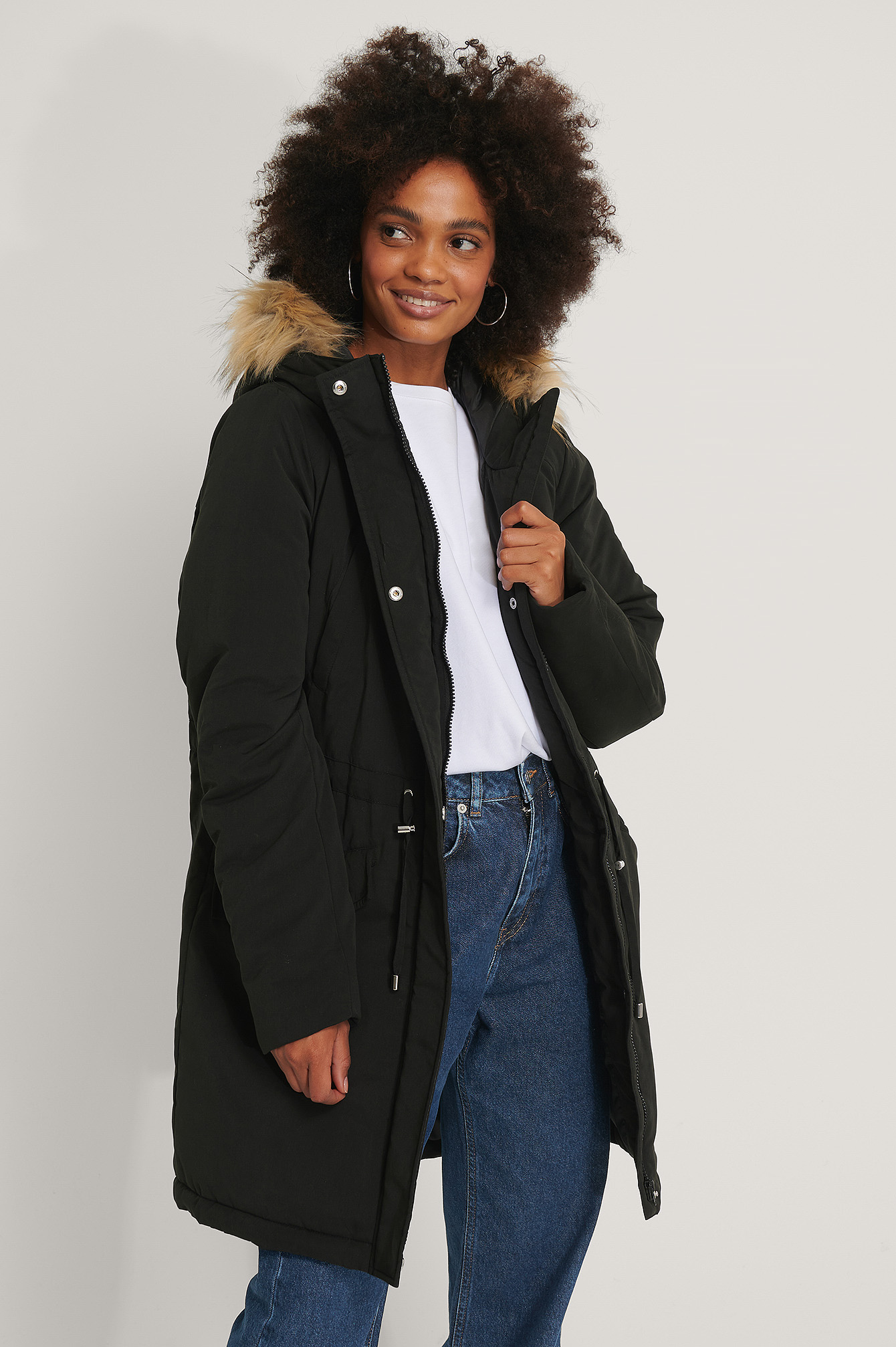 Black Faux Fur Detail Parkas