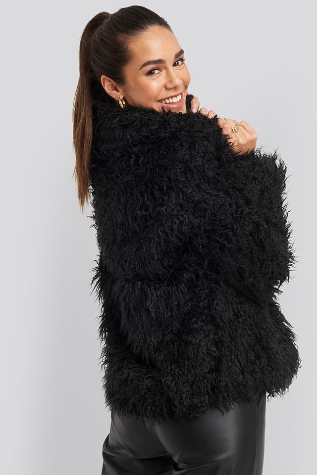 Faux Fur Short Jacket Black