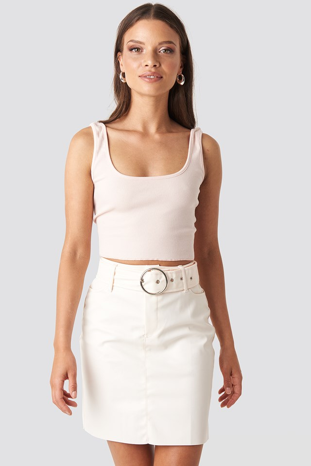 Faux Leather Belted Mini Skirt Beige