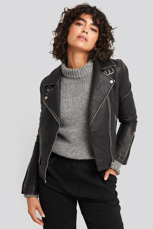 Faux Leather Biker Jacket NA-KD Trend