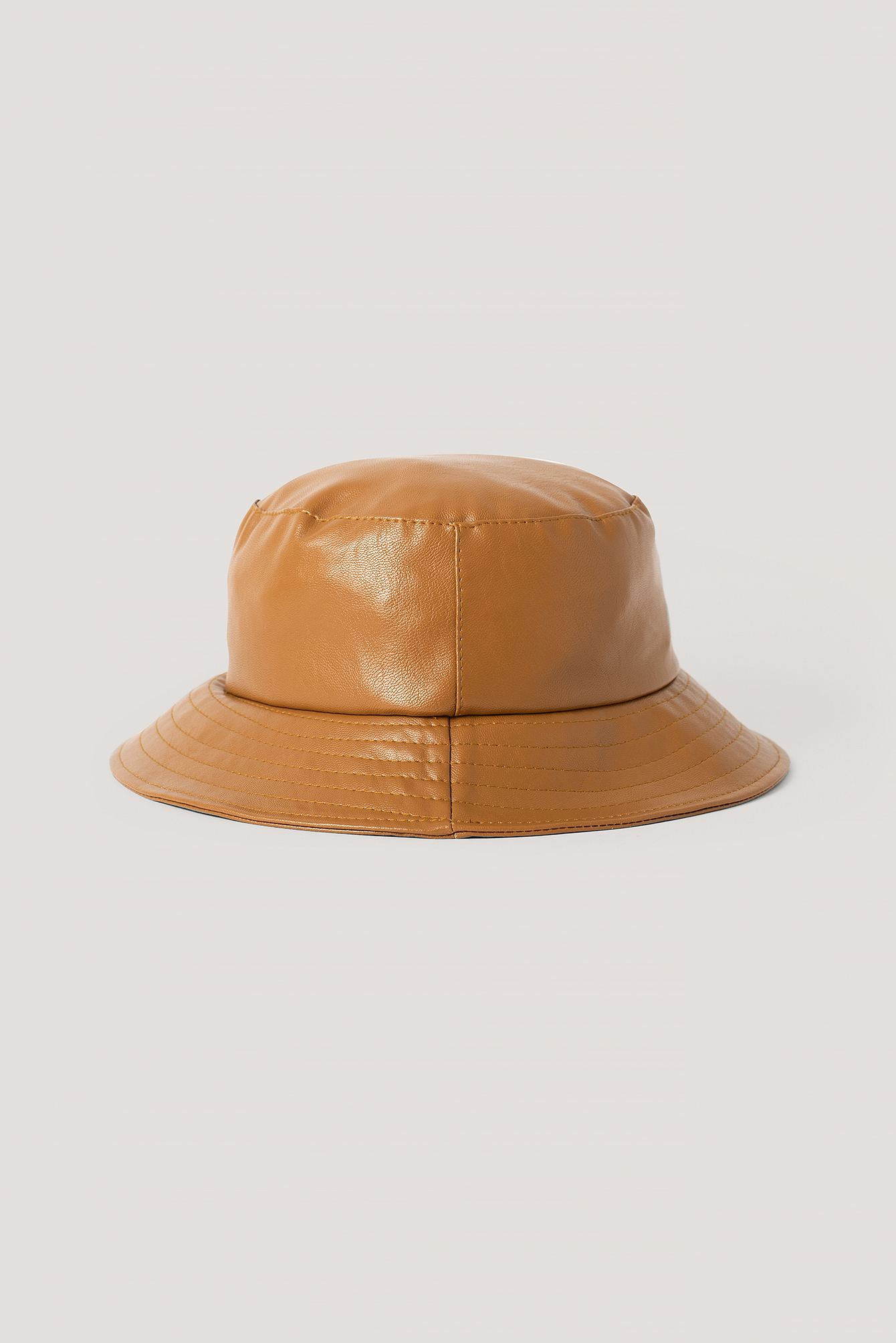 Brown Faux Leather Bucket Hat