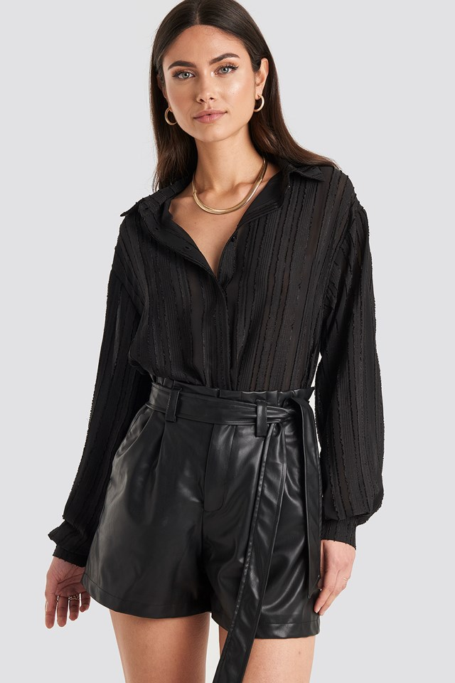 Faux Leather Paperbag Shorts Black
