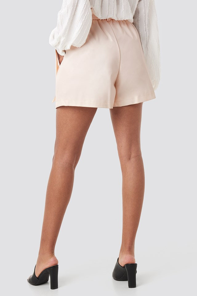 Faux Leather Paperbag Shorts Beige